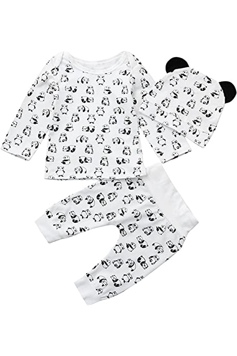 SHOBDW Boys Clothing Sets Pants Newborn Toddler Outfit Clothes 3PCS Baby Girl Cartoon Panda Tops