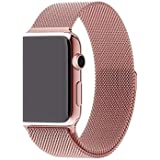 Stainless Steel Band Strap with Screen Protector for 38mm Apple Watch, Rose Gold
