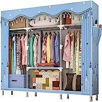 ZZBIQS Penderie extra large en tissu avec compartiments et 2 poches latérales, Garde-Robe Penderie en textile pour…