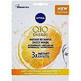 NIVEA Q10 Energy Mascarilla de Tejido con Vitamina C (1 ud), mascarilla antiarrugas con 3 efectos instantáneos, mascarilla fa