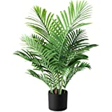 Fopamtri Plantes Artificielles Fausse Plante de Palmier Majesté en Pot Hauteur 90cm Tropical Vertes Décoration Palmier Artifi