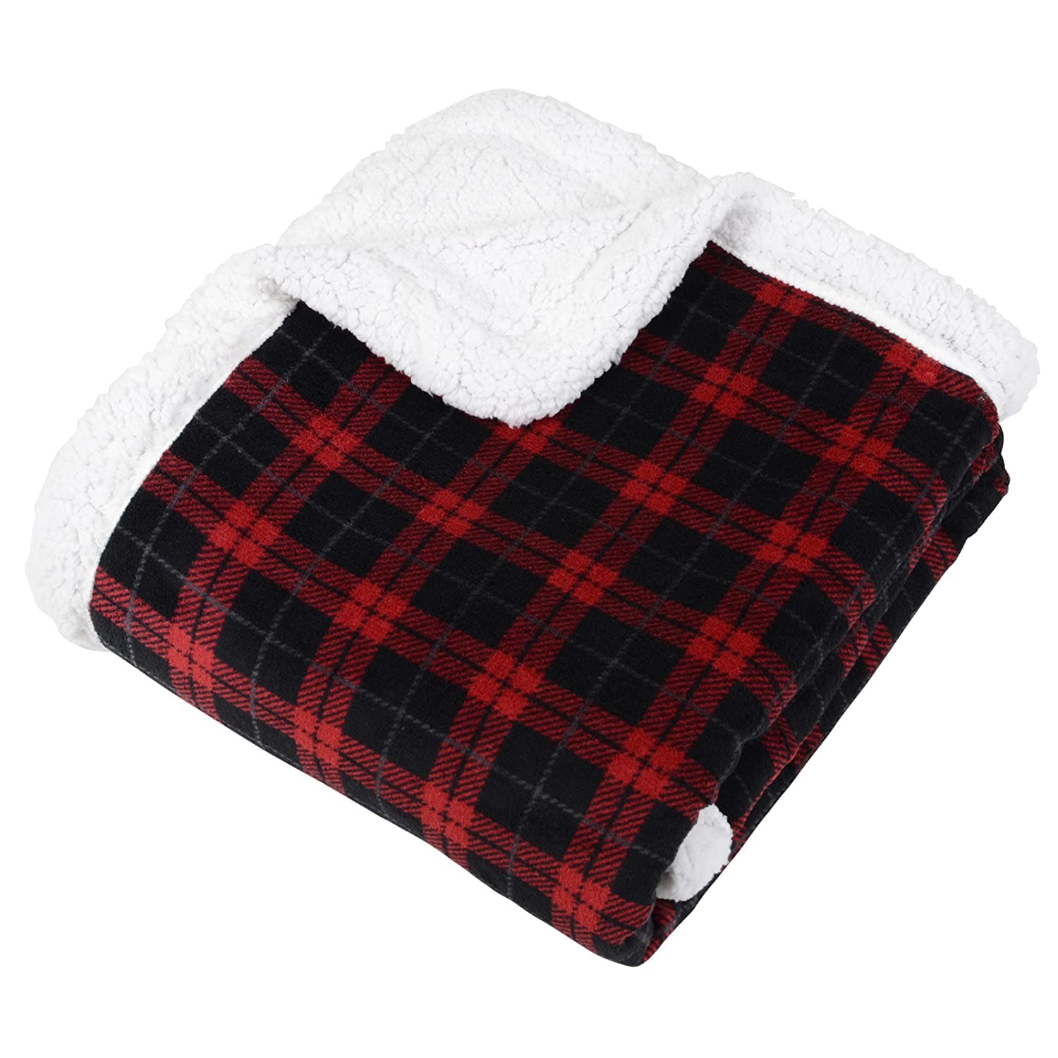 Grey Black Tartan Check Fleece Blanket Soft Sherpa Sofa Bed