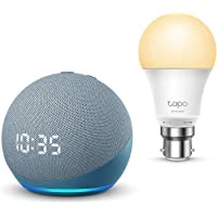 All-new Echo Dot (4th generation) with clock, Twilight Blue + TP-Link Tapo smart bulb (B22), Works with Alexa