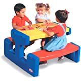 Little Tikes Large Picnic Table (Primary) - Seats Up to 6 - For Homework, Projects, and Play - Primary Colours