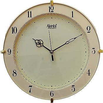 Ajanta Quartz Round Plastic Wall Clock (28 cm x 3.5 cm x 28 cm, Ivory)