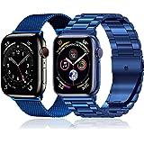 baklon 2 pezzi compatibile con cinturino Apple Watch 44mm 42mm 40mm 38mm, cinturino in acciaio inossidabile di ricambio sport