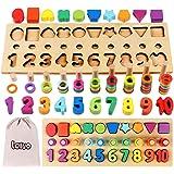 Lewo 3 en 1 Rompecabezas de Números de Madera Juguetes Montessori Juego de Conteo Bloques de Apilamiento Matemático Stem Jugu