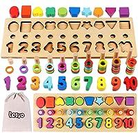 Lewo 3 en 1 Puzzle Numérique en Bois Jouets Montessori Jeu de Comptage de Trieuse de Formes Blocs d'Empilage…