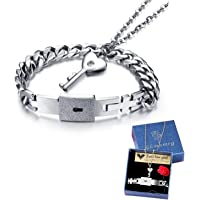 Women's and Men's Couple's Bracelet and Necklace Jewellery Set, Exquisite Stainless Steel Cross Curb Chain, Curb Chain Key Buckle, Pendant 45 cm, Partner Necklace and Bracelet, Silver
