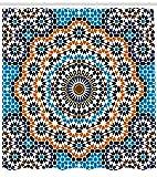 Abakuhaus Jahrgang Duschvorhang, Marokkanische Keramik-Fliese, Bakterie Schimmel Resistent inkl. 12 Haken Waschbar Stielvoller Digitaldruck, 175 x 180 cm, Multicolor