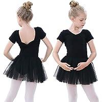 tanzdunsje Girls Ballet Dress Shorts Sleeve Dance Leotard Ballet Tutu Dress with Cute Big Bow V-Neck