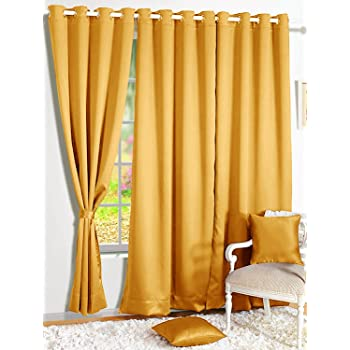 Story@Home Blackout Faux Silk Superior 2 Piece Plain Solid Window Curtains, 5 feet, Mustard