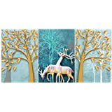 Rangoli Print Deer MDF Wood Reprint Painting for Home Decoration Unique 12 inch or 18 inch Each Size Painting Set of 3 Multic
