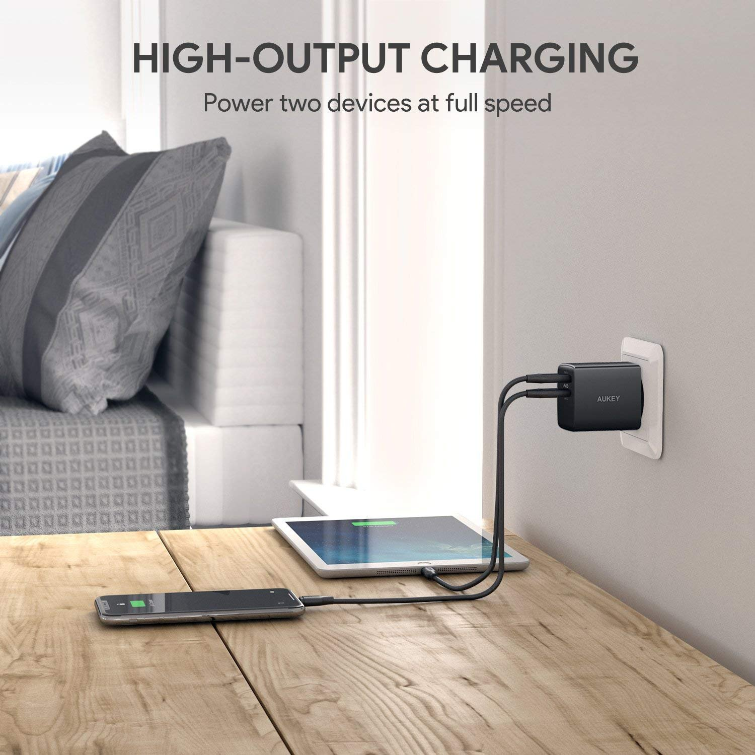 Aukey Usb Ladegert 24w 2 Port Ladeadapter Mit Aipower Technologie Pa U42 Amp Wall Charger Fr Iphone Xs