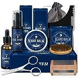 Kit per la Cura Della Barba Y.F.M - Olio da Barba, Shampoo da Barba, Balsamo da Barba, Pennello, Forbice, Pettine per lo Styl