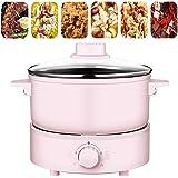Casserole électrique 2.5L Multifonctions Poêle électrique Sauteuse Hot Pot Poêle Frire Pot Soupe Cuiseur Riz Poêle Antiadhési