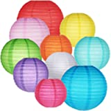 GoFriend 10 Packs Paper Lanterns Colorful Chinese Round Lantern Balloon Hanging Decorations with Assorted Rainbow Colors…
