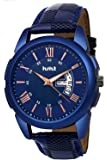 Hcmt Blue Dial Date n Day Display Blue Leather Strap Analogue Wrist Watch for Men
