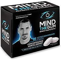 MINDTHEGUM Integratore per Concentrazione, Memoria e Stanchezza Mentale in Gomma con Caffeina, Vitamine, Minerali, Fosforo – 36 chewing gum