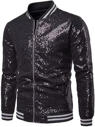 Vanornia Men's Jacket Sequins Slim Fit Bomber Jackets Lightweight Zip Long Sleeve Shiny Coats for Ceremony