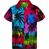 King Kameha Chemise Hawaïenne Homme Funky Casual Button Down Very Loud Poche Avant Courtes Unisex Plage Impression