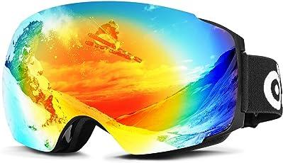Odoland Erwachsene Skibrille-große Sphärische Snowboardbrille mit austauschbarer magnetische Linse &OTG(Over The Glass/für Brillenträger) UV 400 Schutz u. Anti-Beschlag