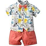 Bebé Niño Traje de 2 Piezas Conjunto Top Camisa de Manga Corta Pantalón Corto Camiseta con Estampado Infantil Ropa Verano de
