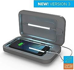 PhoneSoap 3 - UV-Handy-Reiniger und Dual-Universal-Handy-Ladegerät | Patentierter und klinisch erprobter UV-Sanitizer | Reinigt und Lädt Alle Telefone - Silber