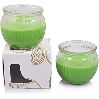 Scented Candles Set of 2 Ribbed Globe Jars LEMON GRASS Fragrance, The Aroma of Fresh Cut Lemongrass With A Hint of Green Herbal Notes | Long Lasting Aroma | Candles For Bedroom | Candles For Decoration