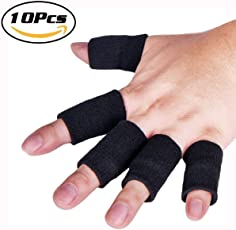 Futurekart Finger Support, Sleeve, Protector with Soft Comfortable Cushion Pressure, Safe, Elastic 10 in 1 Set (Black)
