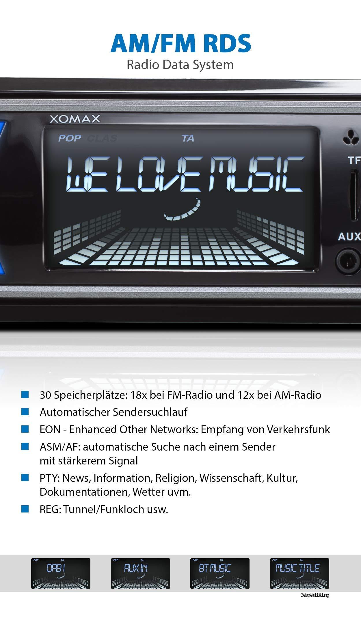 XOMAX-XM-RD264-Autoradio-mit-DAB-Tuner-und-Antenne-RDS-Bluetooth-Freisprecheinrichtung-USB-SD-MP3-Aux-IN-1-Din