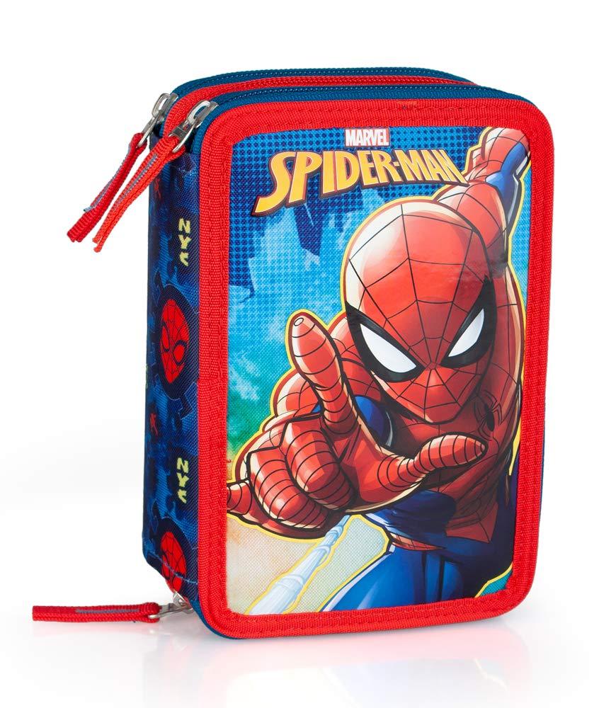 Marvel Spiderman 49034 Estuche 3 bisagras, Plumier Triple, 44 Piezas