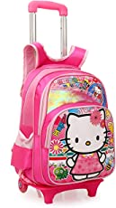 SGD Polyester Kitty Printed Pink Children's Trolley Bag