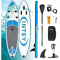 INTEY Stand Up Paddle Board Gonflable, Sup Planche en PVC Construction Ultra Robuste, Kit avec Pagaie, Pompe à Double Action, Sac à Dos, Boîte de réparation, Leash, Aileron