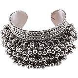 LACUM Metal Oxidized Silver Kada Bangle Cuff Bracelet for Girls