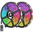 Auelek Ledstrip, 10 m, 300 leds, 5050 RGB, IP65, waterdicht, flexibel, meerkleurig, op maat gesneden, neonkleuren, met afstan