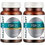 HealthKart Fish Oil (1000 Omega 3, With 180 Mg Epa & 120 Mg Dha)- Pack of 2 (60 Capsules each)