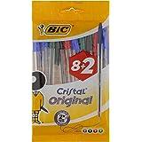 BIC Cristal Original Stylos-Bille - Couleurs Assorties, Pochette de 8+2