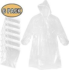 Mture Regenponcho mit Kaputze, Poncho Einweg PE Regenmäntel Wasserdicht Regenjacken für Outdoor Camping - Transparent 6 pcs