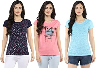 Modeve Printed T-Shirts for Women, Pack of 3 (Navy, Sky Blue and Light Pink)