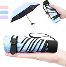 NASUM Regenschirm Mini, Taschenschirm, mehrere Schirmständer stärker, leicht klein und kompakt windsicher. Schirm für Reisen Order Business für Kinder Freundin Geschenk(blau/pink/lila)