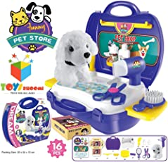 Toys Bhoomi Kids Bring Along Pet Store Suitcase Toy Set - 16 Pieces