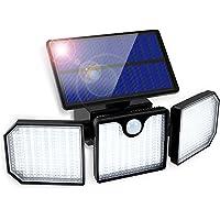 Lampe Solaire Extérieur Détecteur de Mouvement, GolWof Lumière Solaire Extérieur 3 Têtes Lumière Murale Spot Mural…