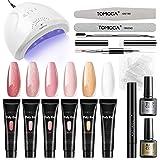 TOMICCA Acryl Polygel Starter Kit, 48W UV LED Lamp met 6 * 15g Poly Gel Nude Pink Glitter Colours Gel UV Soak-off Basecoat en