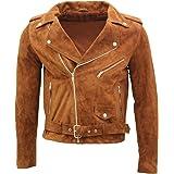 Infinity Leather Giacca da Motociclista da Uomo in Pelle Scamosciata Marrone Chiaro Brando