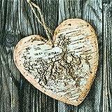 20 Servietten Herz aus Holz / Liebe / Hochzeit 33x33cm
