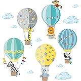Little Deco Muursticker kinderkamer heteluchtballon dieren jongen I 2 A4 vellen I muursticker ballon babykamer olifant dieren