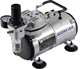 Agora-Tec® Airbrush Compressor AT-AC-02, Kompressor für Airbrushanwendungen mit 4 bar und 20l/min, inkl. Kondenswasserfilter und Druckregler