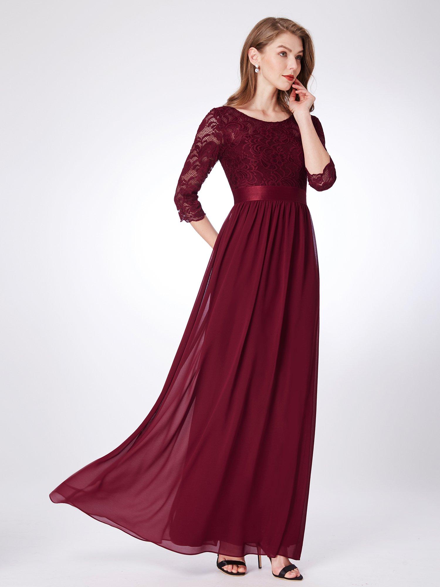 Ever-Pretty Abito da Cerimonia Elegante Manica Lunga Scollo a V con Paillettes Linea ad A Chiffon Donna 00751