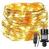 LE Guirnalda de luces LED 22m 200 LED Blanco cálido Alambre de cobre impermeable, Decoración de fiestas, Guirnalda de luces d